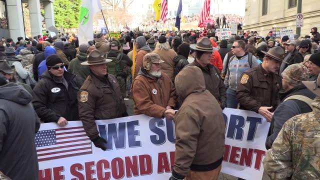 armed patriots attend pro-gun 2nd amendment rally in richmond, virginia organized by citizens defense league, inc. lobby day on the steps of the... - political rally stock videos & royalty-free footage