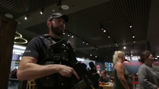 armed police and explosives dog on routing patrol at gatwick airport for stock use - 武器点の映像素材/bロール