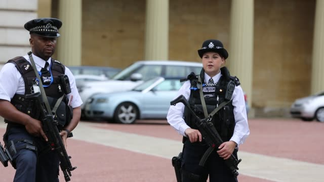 armed police officers guarding a gateway at buckingham palace, london, uk. - uk video stock e b–roll