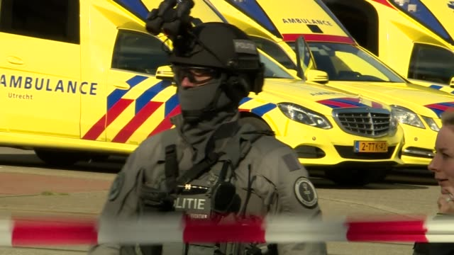 Armed Police on the ground after a terrorist attack in Utrecht Netherlands