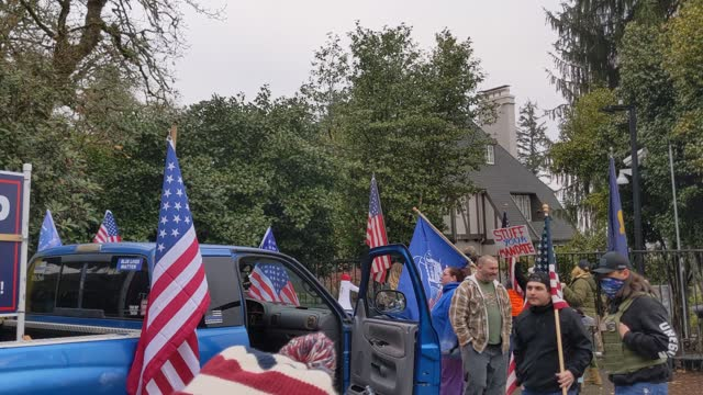 armed protesters gather in front of gov. kate brown's residence, mahonia hall, on november 21, 2020 in salem, oregon. protesters angered by lockdown... - oregon state capitol stock videos & royalty-free footage