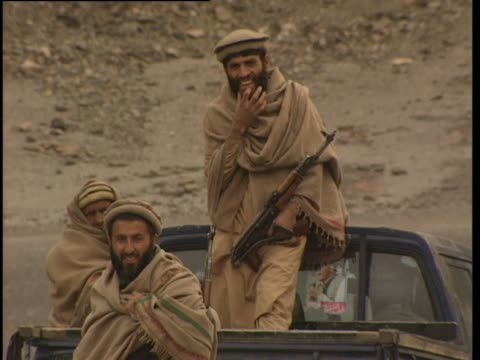 armed rebels in truck khyber tribal agency pakistan - geographical locations stock videos & royalty-free footage