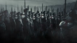 Armed Roman Soldiers Wearing Full Armor Standing in Formation
