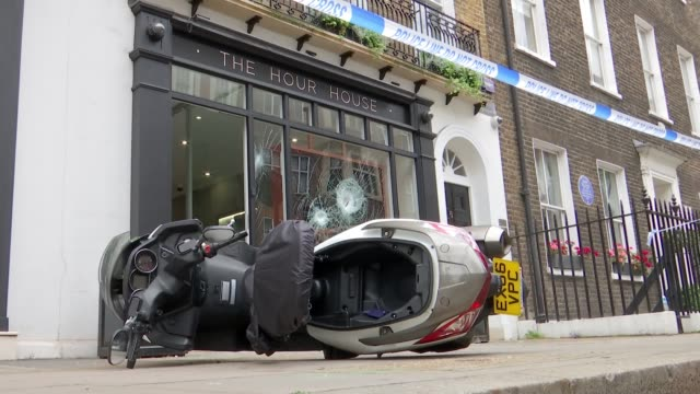 Armed scooter gang robs luxury West End watch shop ENGLAND London Marylebone EXT Laura Gregory interview SOT Scooter lying on ground outside shop...
