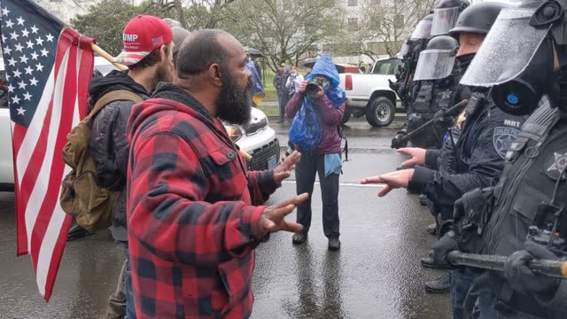 armed supporters of president trump protest on january 6, 2021 in salem, oregon. trump supporters gathered at state capitals across the country to... - oregon us state stock videos & royalty-free footage