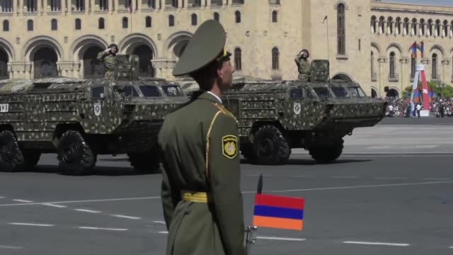 armenia celebrated on wednesday the 25th anniversary of its independence from the ussr with a military parade in central yerevan - independence video stock e b–roll