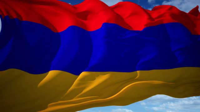 armenien flagge - osteuropäische kultur stock-videos und b-roll-filmmaterial
