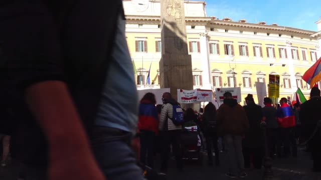 armenian demonstration in montecitorio square to call for azerbaijan ceasefire in the nagorno-karabakh region october 13, 2020 in rome, italy. - ceasefire stock videos & royalty-free footage