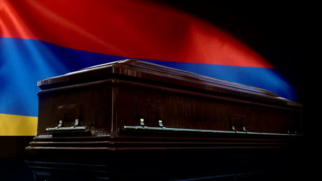 armenian flag behind coffin - genocide stock videos & royalty-free footage
