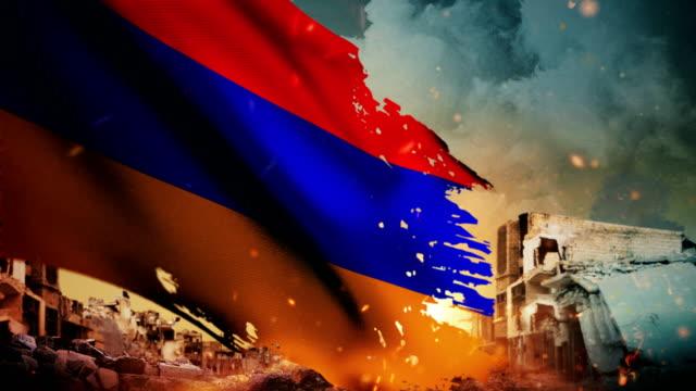 4k armenian flag - crisis / war / fire (loop) - genocide stock videos & royalty-free footage