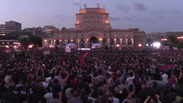 armenian opposition leader nikol pashinyan calls an end to a wave of protests and says all parties would support his bid to run for prime minister... - prime minister video stock e b–roll