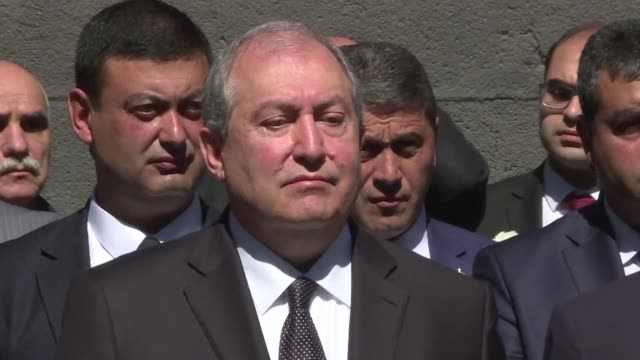 Armenian president Armen Sarkissian pays tribute to the victims of the Armenian Genocide in Yerevan 103 years after the massacre of 15 million of...