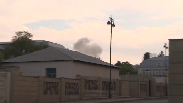 armenian shells bombarding civilian locations in western azerbaijan fell near turkish journalists stationed in terter city on saturday staff from... - us state border stock videos & royalty-free footage