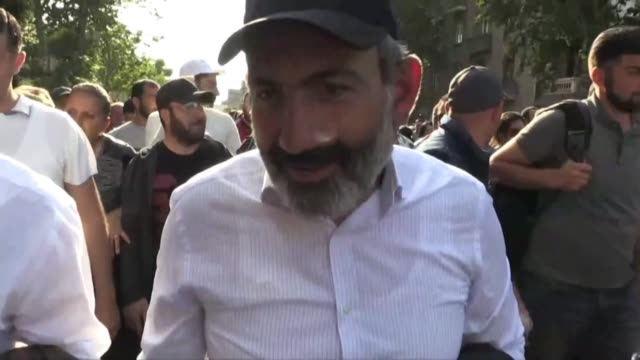 armenia's opposition leader nikol pashinyan holds a rally in yerevan ahead of a key parliamentary vote to elect the country's new prime minister... - prime minister video stock e b–roll