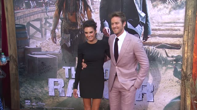 armie hammer and elizabeth chambers at the lone ranger los angeles premiere armie hammer and elizabeth chambers at the lone r at disney california... - the lone ranger 2013 film stock videos and b-roll footage
