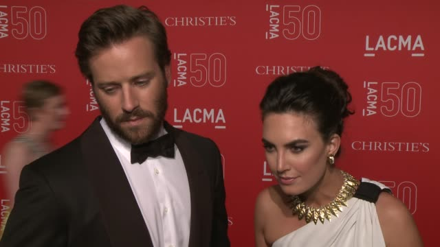 interview armie hammer and elizabeth chambers on the importance of lacma on a favorite lacma memory and on being at the event at lacma's 50th... - armie hammer stock videos & royalty-free footage