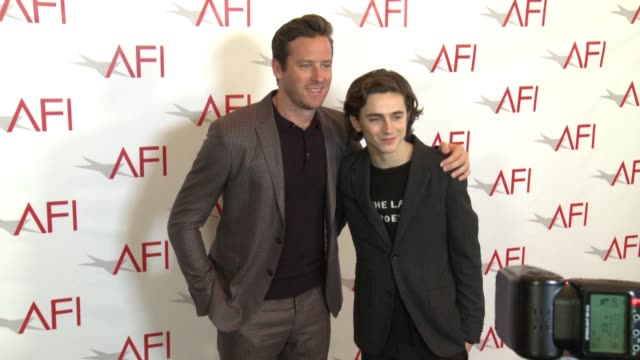 armie hammer and timothée chalamet at the afi awards luncheon on january 05 2018 in los angeles california - armie hammer stock videos & royalty-free footage
