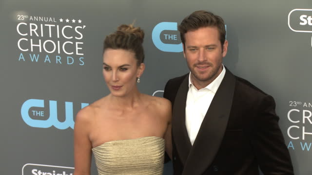 armie hammer andelizabeth chambers at the at the 23rd annual critics' choice awards at barker hangar on january 11 2018 in santa monica california - armie hammer stock videos & royalty-free footage