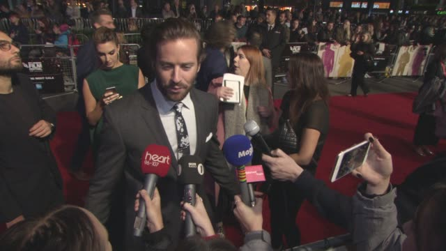 armie hammer at lff 'free fire' closing night gala - bfi london film festival at odeon leicester square on october 16, 2016 in london, england. - leicester square stock videos & royalty-free footage