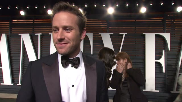 interview armie hammer at the 2015 vanity fair oscar party hosted by graydon carter at wallis annenberg center for the performing arts on february 22... - wallis annenberg center for the performing arts stock videos and b-roll footage
