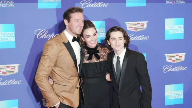Armie Hammer Elizabeth Chambers and Timothée Chalamet at the 29th Annual Palm Springs International Film Festival Awards Gala at Palm Springs...