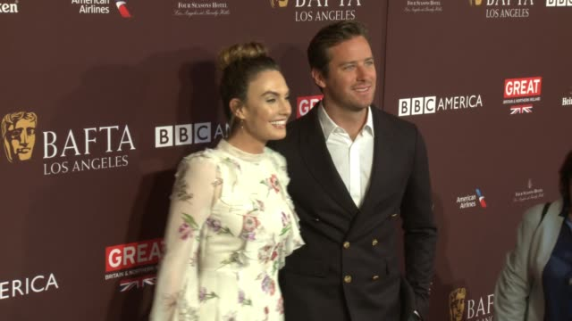 armie hammer elizabeth chambers at 2018 bafta los angeles tea party the four seasons los angeles at beverly hills in los angeles ca - armie hammer stock videos & royalty-free footage