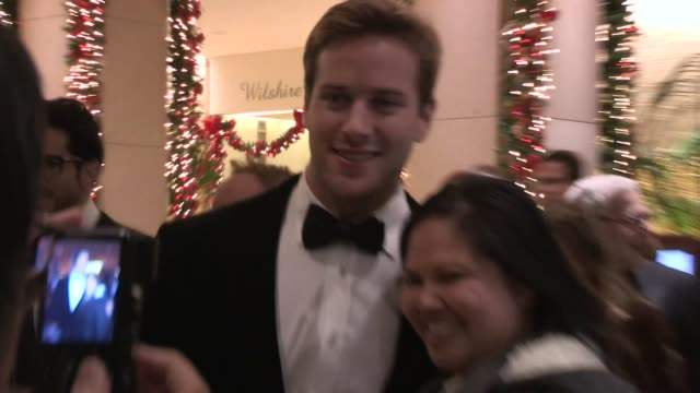 armie hammer elizabeth chambers greet fans at the american cinematheque 27th annual awards in beverly hills in celebrity sightings in los angeles... - american cinematheque stock videos & royalty-free footage