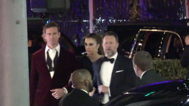 armie hammer elizabeth chambers outside the vanity fair oscar party in beverly hills in celebrity sightings in los angeles - armie hammer stock videos & royalty-free footage