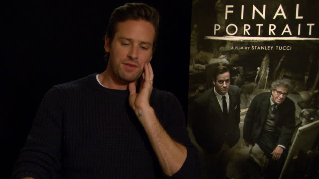 interview armie hammer on alberto giacometti at berlin film festival 'final portrait' interviews at berlinale palast on february 11 2017 in berlin... - armie hammer stock videos & royalty-free footage