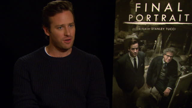 interview armie hammer on enjoying the time filming and on working with geoffrey rush at berlin film festival 'final portrait' interviews at... - armie hammer stock videos & royalty-free footage
