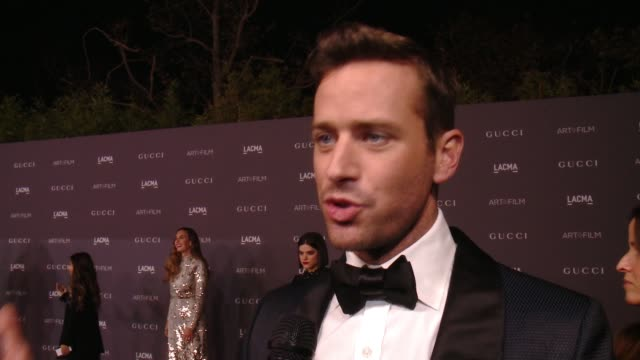 interview armie hammer on the event at 2017 lacma art film gala honoring mark bradford and george lucas presented by gucci in los angeles ca - armie hammer stock videos & royalty-free footage
