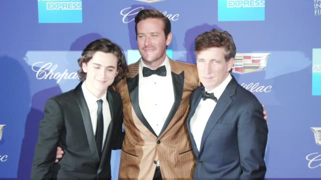 armie hammer timothée chalamet and peter spears at the 29th annual palm springs international film festival awards gala at palm springs convention... - armie hammer stock videos & royalty-free footage