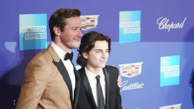 armie hammer timothée chalamet at the 29th annual palm springs international film festival awards gala at palm springs convention center on january... - armie hammer stock videos & royalty-free footage
