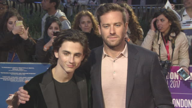 armie hammer timothee chalamet at 'call me by your name' uk premiere 61st bfi london film festival at odeon leicester square on october 09 2017 in... - armie hammer stock videos & royalty-free footage