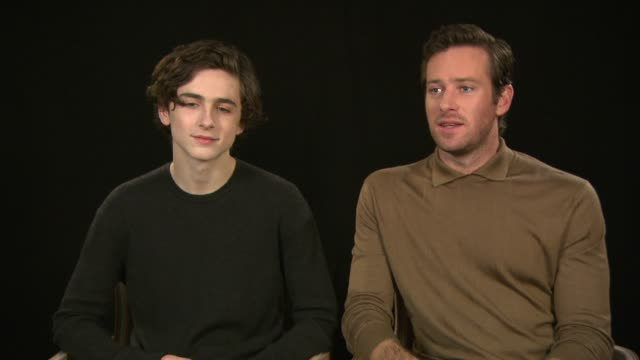 interview armie hammer timothee chalamet on spending all there personal time together working in europe european cinema feeling more played back in... - armie hammer stock videos & royalty-free footage