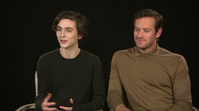 interview armie hammer timothee chalamet on wanting to film in italy working with luca guadagnino as a director at berlin film festival 'call me by... - call me by your name stock videos & royalty-free footage