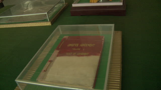 Armistice agreement document inside military barracks in North korea
