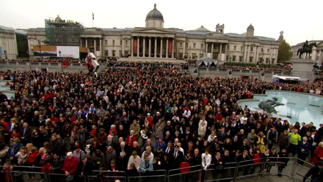 anniversary services held throughout the country ENGLAND London Crowds in Trafalgar Square stand for two minute silence