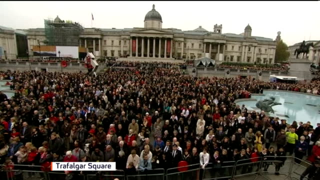 anniversary services held throughout the country London Crowds in Trafalgar Square stand for two minute silence at Armistice Day service