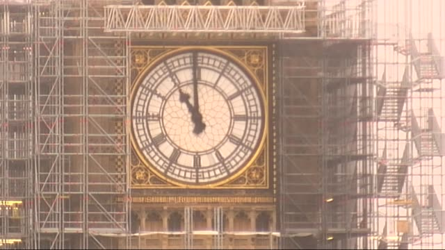 Big Ben strikes eleven ENGLAND London Westminster EXT Big Ben surrounded by scaffolding striking 11 o'clock on Armistice Day