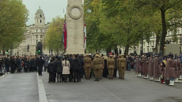 Cenotaph ENGLAND London Whitehall EXT Veterans some wearing uniforms of the First World War and others gathered at the Cenotaph war memorial for...