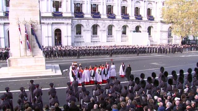 Cenotaph main feed ENGLAND London Whitehall EXT Arrivals at Cenotaph holding poppy wreaths / Jeremy Corbyn MP Theresa May MP Ian Blackford MP John...