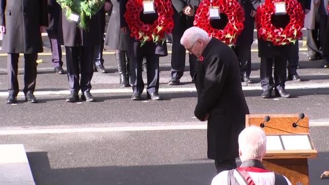 Cenotaph main feed ENGLAND London Whitehall FrankWalter Steinmeier lays wreath / Woman lays wreath / Prince Charles lays second wreath / Prince...