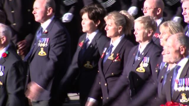 Cenotaph main feed ENGLAND London Whitehall GVs veterans' procession along