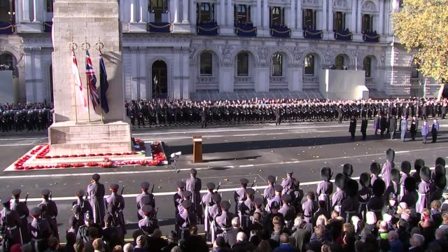 Cenotaph main feed ENGLAND London Whitehall Marching band along