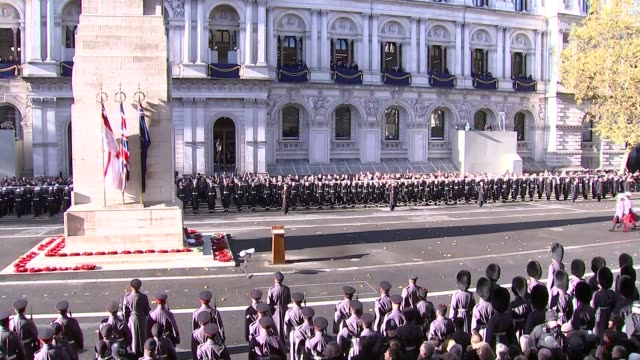 Cenotaph main feed ENGLAND London Whitehall People depart / more wreaths laid