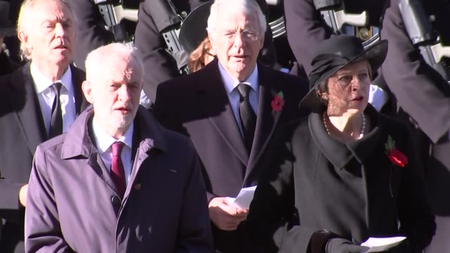 Cenotaph main feed ENGLAND London Whitehall Prince Charles singing / Jeremy Corbyn Theresa May Tony Blair John Major and others singing / wide shot...