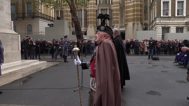 Cenotaph service ENGLAND London Whitehall EXT Various of people cadets servicemen and women and veterans attending a service of remembrance at the...