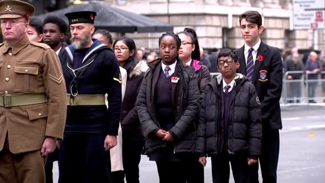 cenotaph veterans some wearing uniforms of the first world war and others gathered at the cenotaph war memorial for service of remembrance and to... - uniform stock-videos und b-roll-filmmaterial