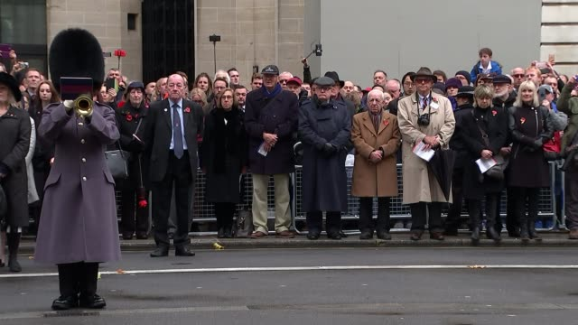 Armistice Day ceremonies held around the UK ENGLAND London Whitehall Cenotaph EXT Various shots of people attending Armistice Day ceremony in...